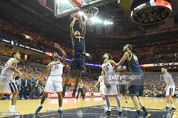Ivan Rabb of the California Golden Bears takes a shot during a college basketball game against the Virginia Cavaliers at John Paul Jones Arena on...