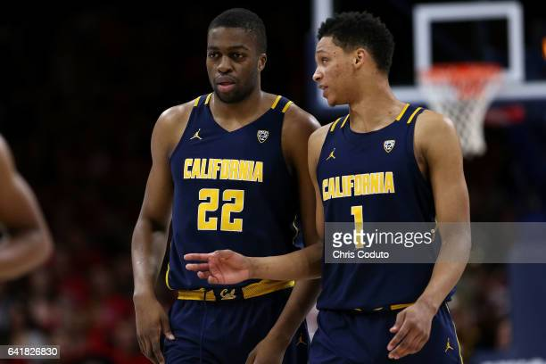 Ivan Rabb of the California Golden Bears talks with Kingsley Okoroh during the first half of the college basketball game against the Arizona Wildcats...