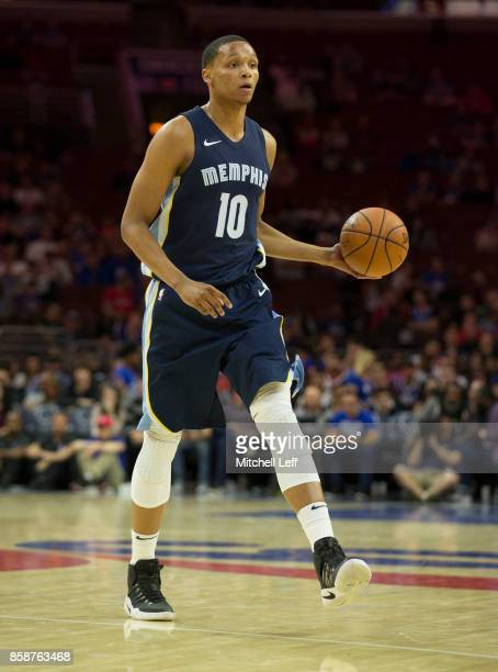 Ivan Rabb of the Memphis Grizzlies controls the ball against the Philadelphia 76ers during the preseason game at the Wells Fargo Center on October 4...