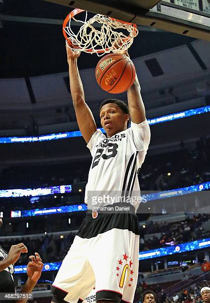 Ivan Rabb of the West team dunks during the 2015 McDonalds's All American Game at the United Center on April 1 2015 in Chicago Illinois