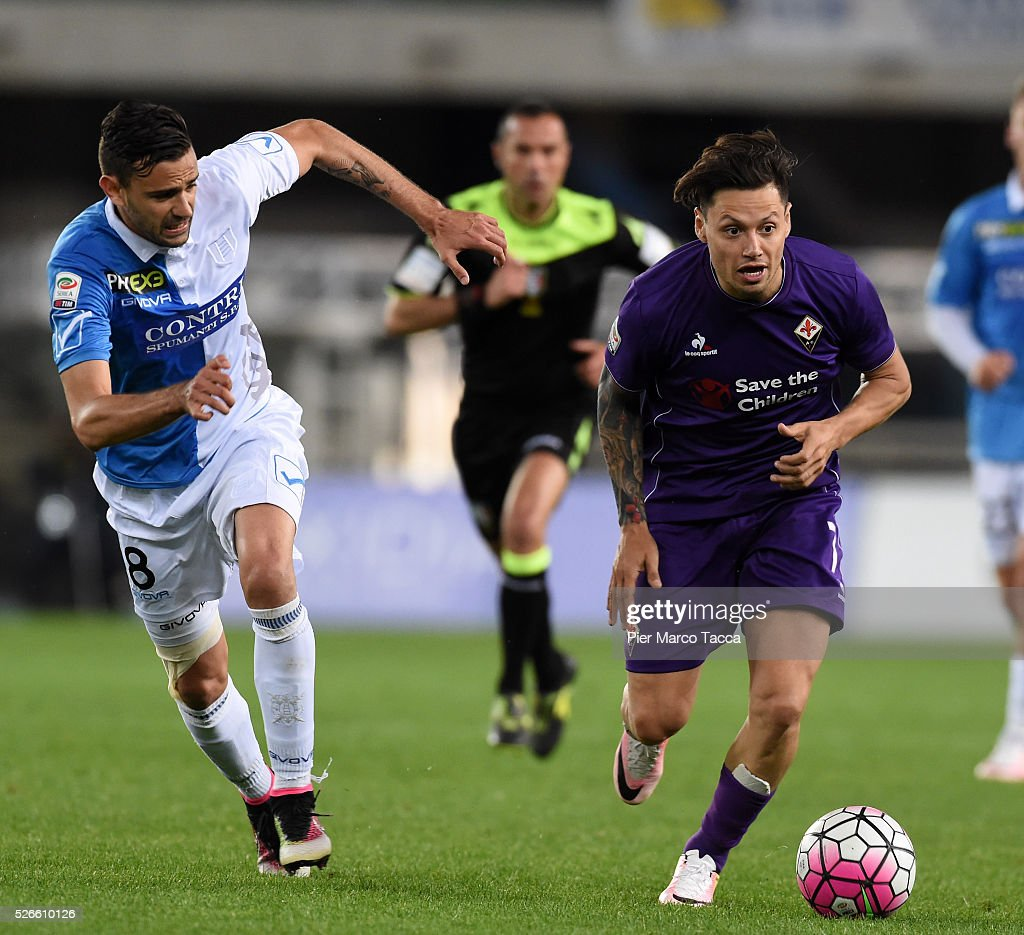 Ivan Radovanic of AC Chievo competes for the ball with Mauro Zarate of ACF Fiorentina during the Serie A match between AC Chievo Verona and ACF Fiorentina at Stadio Marc'Antonio Bentegodi on April 30, 2016 in Verona, Italy.
