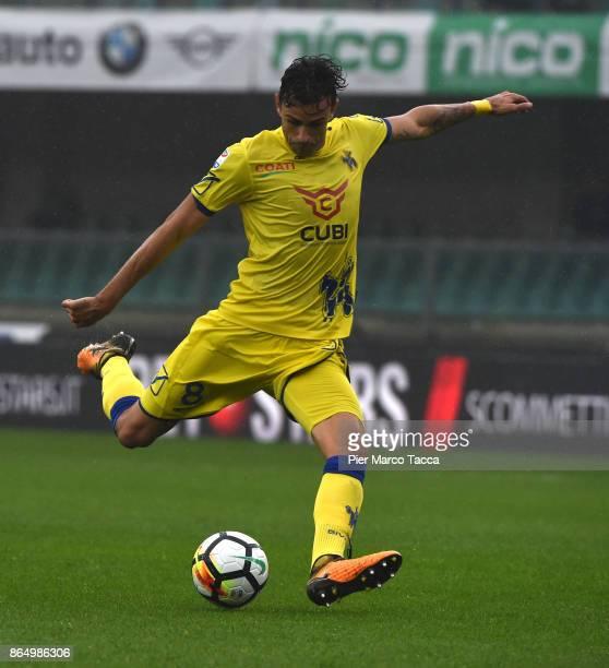 Ivan Radovanovic of AC Chievo Verona pull the ball during the Serie A match between AC Chievo Verona and Hellas Verona FC at Stadio Marc'Antonio...