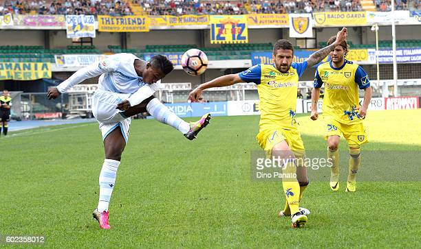 Ivan Radovanovic of ChievoVerona competes with Keita Balde Diao of SS Lazio during the Serie A match between AC ChievoVerona and SS Lazio at Stadio...