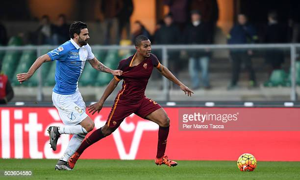 Ivan Radovaovic of AC Chievo competes for the ball with William Vainqueur of AS Roma during the Serie A match between AC Chievo Verona and AS Roma at...