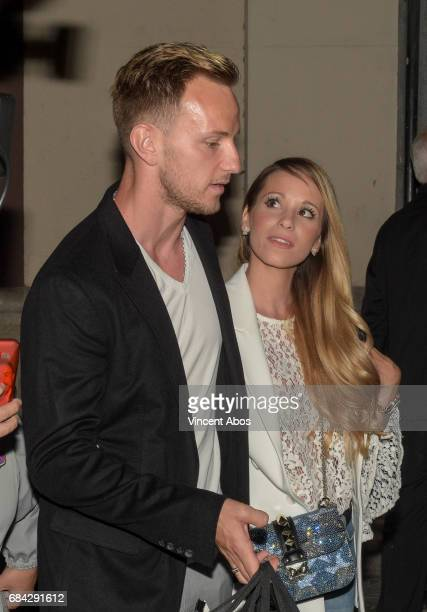Ivan Rakitic and Raquel Mauri are seen leaving the new Sarkany Boutique opening on May 17 2017 in Barcelona Spain