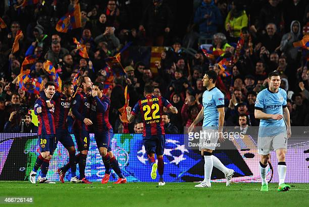 Ivan Rakitic of Barcelona celebrates scoring the opening goal with Neymar Lionel Messi and Luis Suarez of Barcelona during the UEFA Champions League...
