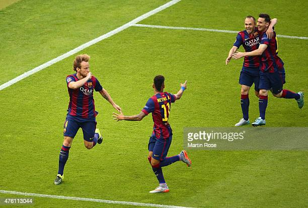 Ivan Rakitic of Barcelona celebrates scoring the opening goal with team mates during the UEFA Champions League Final between Juventus and FC...