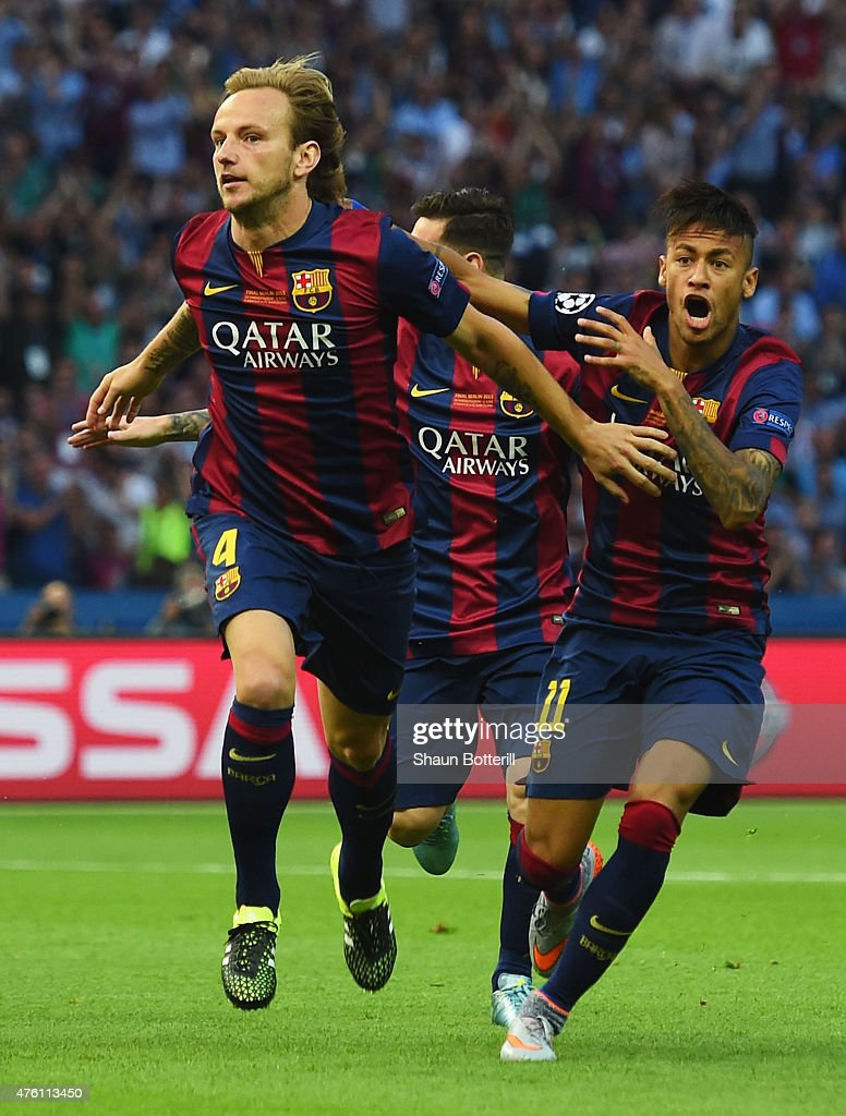 <a gi-track='captionPersonalityLinkClicked' href=/galleries/search?phrase=Ivan+Rakitic&family=editorial&specificpeople=3987920 ng-click='$event.stopPropagation()'>Ivan Rakitic</a> of Barcelona celebrates scoring the opening goal with Neymar (R) during the UEFA Champions League Final between Juventus and FC Barcelona at Olympiastadion on June 6, 2015 in Berlin, Germany.