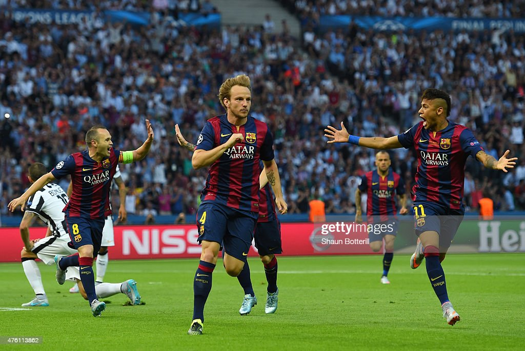 <a gi-track='captionPersonalityLinkClicked' href=/galleries/search?phrase=Ivan+Rakitic&family=editorial&specificpeople=3987920 ng-click='$event.stopPropagation()'>Ivan Rakitic</a> of Barcelona celebrates scoring the opening goal with Neymar (R) and <a gi-track='captionPersonalityLinkClicked' href=/galleries/search?phrase=Andres+Iniesta&family=editorial&specificpeople=465707 ng-click='$event.stopPropagation()'>Andres Iniesta</a> (L) during the UEFA Champions League Final between Juventus and FC Barcelona at Olympiastadion on June 6, 2015 in Berlin, Germany.