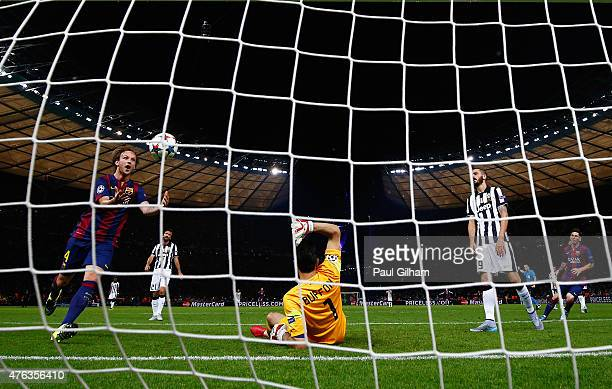 Ivan Rakitic of Barcelona celebrates the goal scored by Luis Suarez during the UEFA Champions League Final between Juventus and FC Barcelona at...