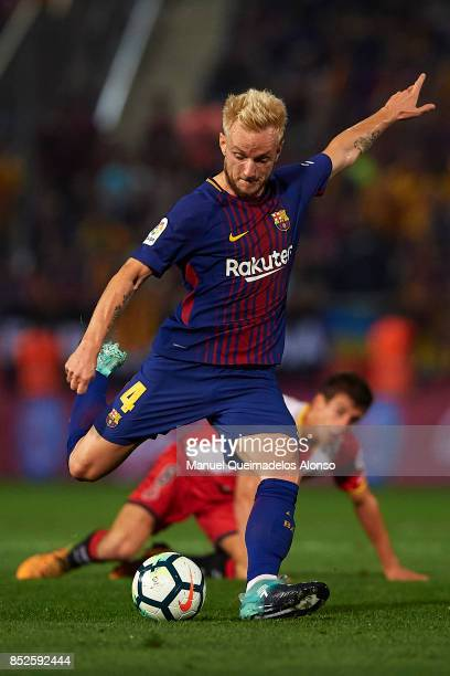 Ivan Rakitic of Barcelona in action during the La Liga match between Girona and Barcelona at Municipal de Montilivi Stadium on September 23 2017 in...