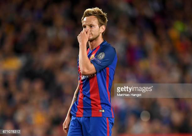 Ivan Rakitic of Barcelona reacts during the UEFA Champions League Quarter Final second leg match between FC Barcelona and Juventus at Camp Nou on...
