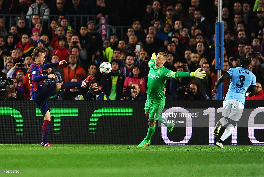 <a gi-track='captionPersonalityLinkClicked' href=/galleries/search?phrase=Ivan+Rakitic&family=editorial&specificpeople=3987920 ng-click='$event.stopPropagation()'>Ivan Rakitic</a> of Barcelona scores the opening goal past <a gi-track='captionPersonalityLinkClicked' href=/galleries/search?phrase=Joe+Hart&family=editorial&specificpeople=1295472 ng-click='$event.stopPropagation()'>Joe Hart</a> of Manchester City during the UEFA Champions League Round of 16 second leg match between Barcelona and Manchester City at Camp Nou on March 18, 2015 in Barcelona, Spain.