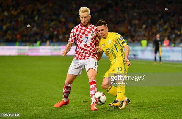Ivan Rakitic of Croatia and Yevhen Konoplyanka of Ukraine battle for the ball during the FIFA 2018 World Cup Group I Qualifier between Ukraine and...