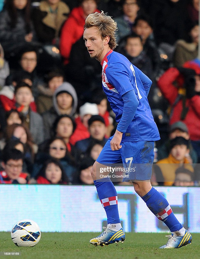 <a gi-track='captionPersonalityLinkClicked' href=/galleries/search?phrase=Ivan+Rakitic&family=editorial&specificpeople=3987920 ng-click='$event.stopPropagation()'>Ivan Rakitic</a> of Croatia attacks during the International Friendly match between Croatia and Korea Republic at Craven Cottage on February 6, 2013 in London, England.