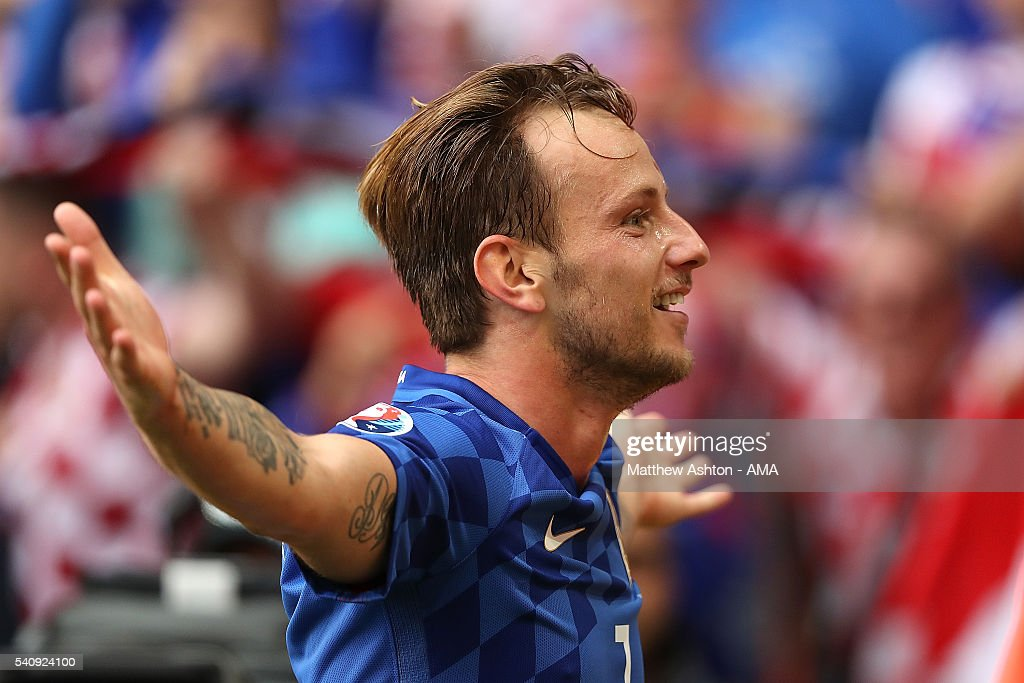 <a gi-track='captionPersonalityLinkClicked' href=/galleries/search?phrase=Ivan+Rakitic&family=editorial&specificpeople=3987920 ng-click='$event.stopPropagation()'>Ivan Rakitic</a> of Croatia celebrates scoring a goal to make the score 0-2 during the UEFA EURO 2016 Group D match between Czech Republic and Croatia at Stade Geoffroy-Guichard on June 17, 2016 in Saint-Etienne, France.