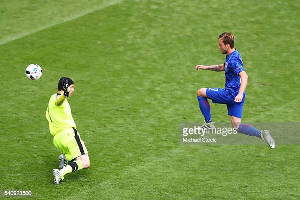 Ivan Rakitic of Croatia chips Petr Cech of Czech Republic to score his sides second goal during the UEFA EURO 2016 Group D match between Czech...