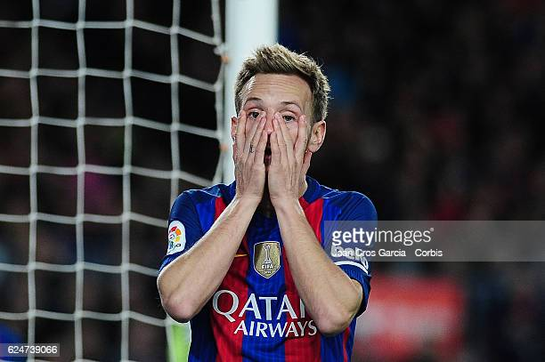Ivan Rakitic of FC Barcelona after a missed goal opportunity during the Spanish League match between FC Barcelona vs Malaga CF at Camp Nou Stadium on...