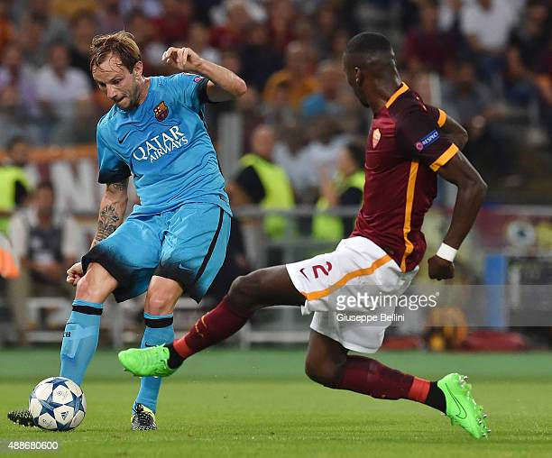 Ivan Rakitic of FC Barcelona and Antonio Rudiger of AS Roma in action during the UEFA Champions League Group E match between AS Roma and FC Barcelona...
