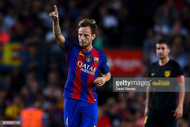 Ivan Rakitic of FC Barcelona celebrates after scoring his team's first goal during the La Liga match between FC Barcelona and Club Atletico de Madrid...