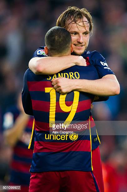 Ivan Rakitic of FC Barcelona celebrates with his teammate Sandro Ramirez after scoring his team's second goal during the La Liga match between FC...