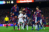 Ivan Rakitic of FC Barcelona clears the ball during the La Liga match Between FC Barcelona and Real Madrid CF at Camp Nou on March 22 2015 in...
