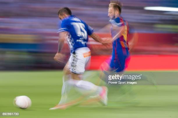 Ivan Rakitic of FC Barcelona fights for the ball with Bernard Francois Hernandez Pi Theo Hernandez of Deportivo Alaves during the Copa Del Rey Final...