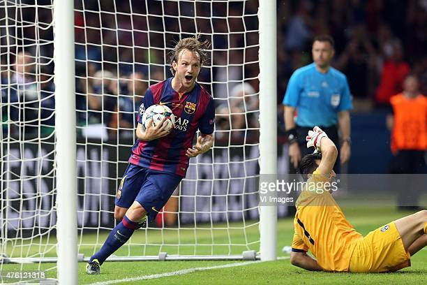 Ivan Rakitic of FC Barcelona goalkeeper Gianluigi Buffon of Juventus FC during the UEFA Champions League final match between Barcelona and Juventus...