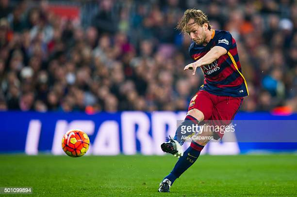 Ivan Rakitic of FC Barcelona scores his team's second goal during the La Liga match between FC Barcelona and RC Deportivo La Coruna at Camp Nou on...