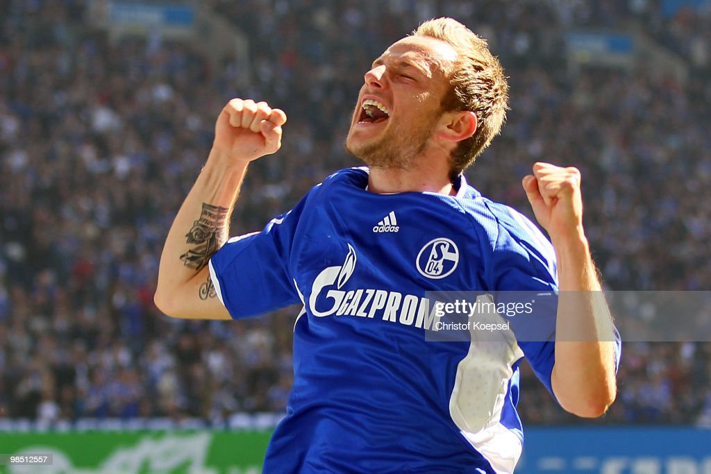 <a gi-track='captionPersonalityLinkClicked' href=/galleries/search?phrase=Ivan+Rakitic&family=editorial&specificpeople=3987920 ng-click='$event.stopPropagation()'>Ivan Rakitic</a> of Schalke celebrates the first goal during the Bundesliga match between FC Schalke 04 and Borussia Moenchengladbach at the Veltins Arena on March 17, 2010 in Gelsenkirchen, Germany.