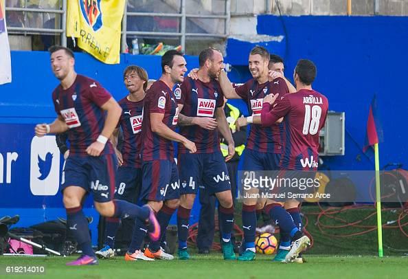 Ivan Ramis of SD Eiba celebrates after scoring goal during the La Liga match between SD Eibar and Villarreal CF at Ipurua Municipal Stadium on...