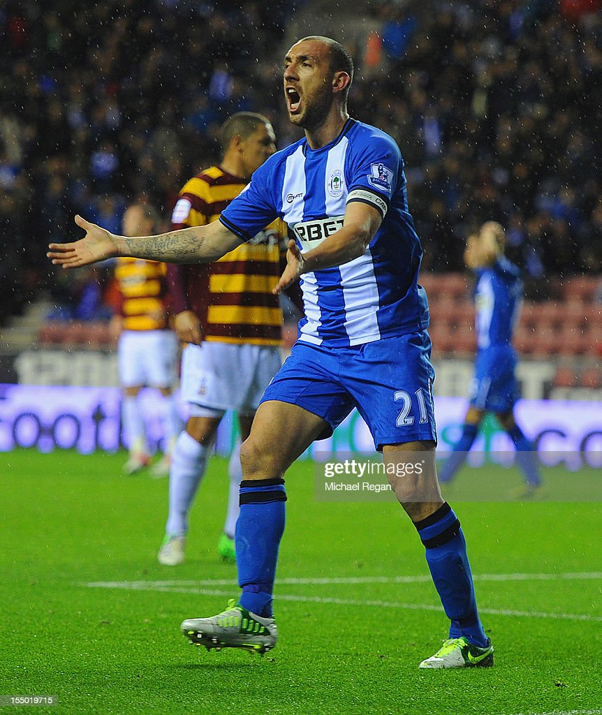 Ivan Ramis of Wigan complains after his goal is disallowed during the Capital One Cup Fourth Round match between Wigan Athletic and Bradford City at...