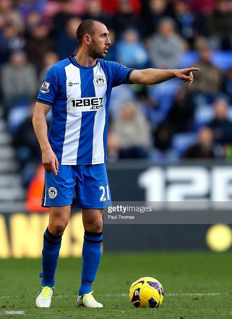 Ivan Ramis of Wigan during the Barclays Premier League match between Wigan Athletic and West Ham United at the DW Stadium on October 27 2012 in Wigan...