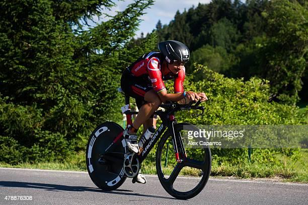Ivan Rana competes in the bike leg of the race during Ironman Klagenfurt on June 28 2015 in Klagenfurt Austria