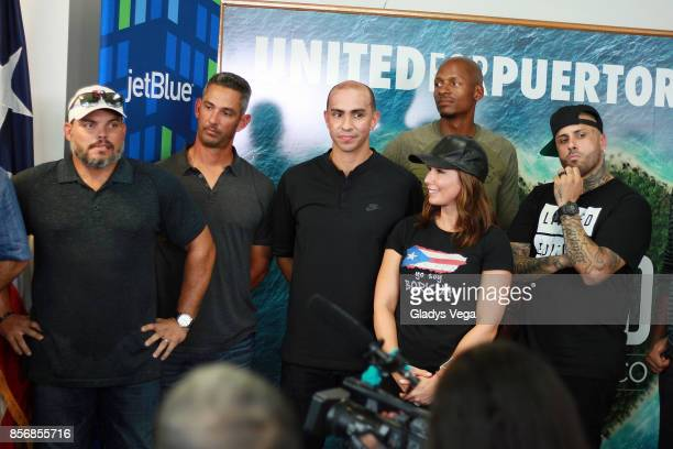 Ivan Rodriguez Jorge Posada Carlos Arroyo Ray Allen Laura Posada and Nicky Jam during a press conference supporting victims of Hurricane Maria at...
