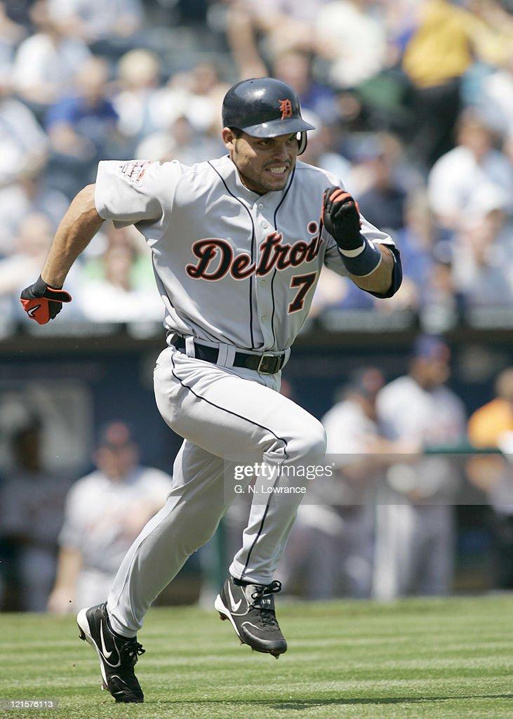 Ivan Rodriguez of the Detroit Tigers in action against the Kansas City Royals on April 17, 2005 at Kauffman Stadium in Kansas City, Missouri. Detroit won 6-1.