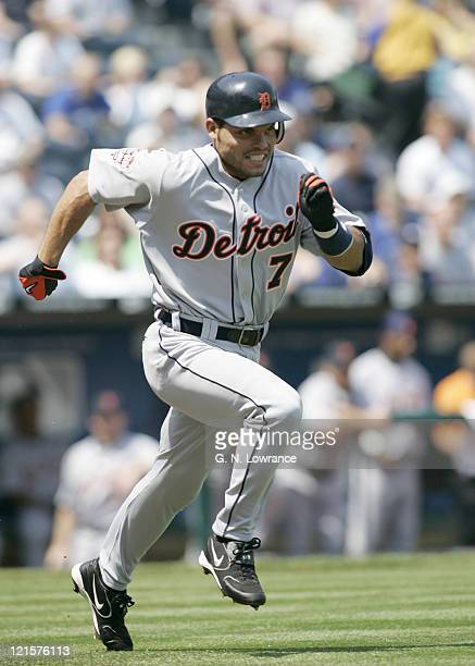 Ivan Rodriguez of the Detroit Tigers in action against the Kansas City Royals on April 17 2005 at Kauffman Stadium in Kansas City Missouri Detroit...