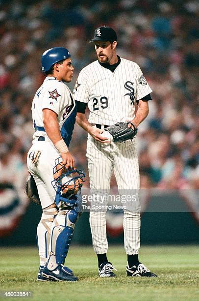 Ivan Rodriguez of the Texas Rangers and Jack McDowell of the Chicago White Sox talk during the 1993 AllStar Game on July 13 1993 at Oriole Park at...