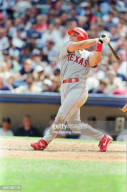 Ivan Rodriguez of the Texas Rangers bats against the New York Yankees at Yankee Stadium on August 15 1998 in the Bronx borough of New York City