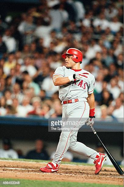 Ivan Rodriguez of the Texas Rangers bats against the New York Yankees at Yankee Stadium on August 18 1998 in the Bronx borough of New York City