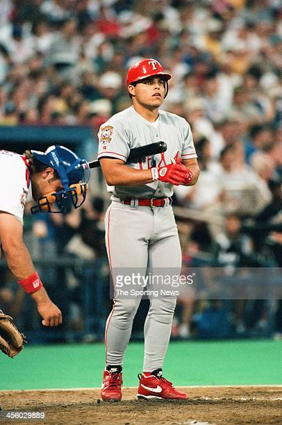 Ivan Rodriguez of the Texas Rangers during the 1994 All Star Game on July 12 1994 at Three Rivers Stadium in Pittsburgh Pennsylvania