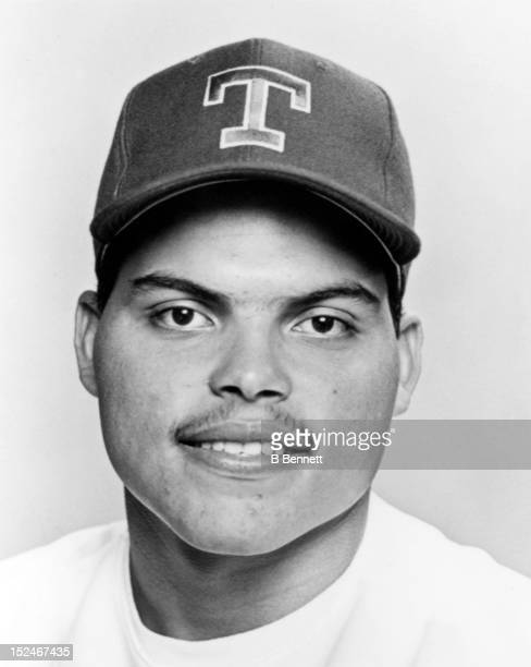 Ivan Rodriguez of the Texas Rangers poses for a portrait in March 1992 at Pompano Beach Municipal Stadium in Pompano Beach Florida