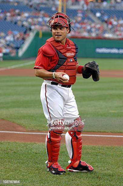 Ivan Rodriguez of the Washington Nationals looks on before a baseball game against the St Louis Cardinals on August 26 2010 at Nationals Park in...