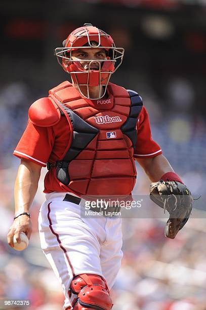 Ivan Rodriguez of the Washington Nationals looks on during a baseball game against the Los Angeles Dodgers on April 25 2010 at Nationals Park in...