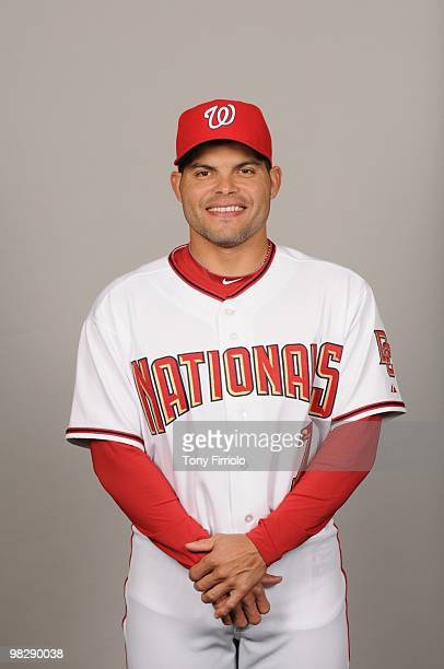 Ivan Rodriguez of the Washington Nationals poses during Photo Day on Sunday February 28 2010 at Space Coast Stadium in Viera Florida