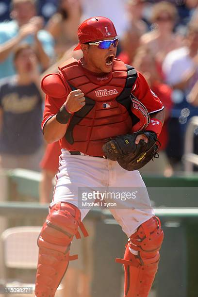 Ivan Rodriguez of the Washington Nationals reacts to a an out during a baseball game against the San Diego Padres on May 28 2011 at Nationals Park in...