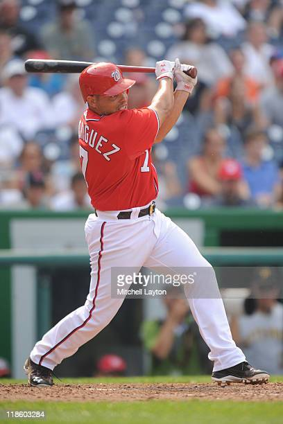 Ivan Rodriguez of the Washington Nationals takes a swing during a baseball game against the PIttsburgh Pirates at Nationals Park on July 3 2011 in...