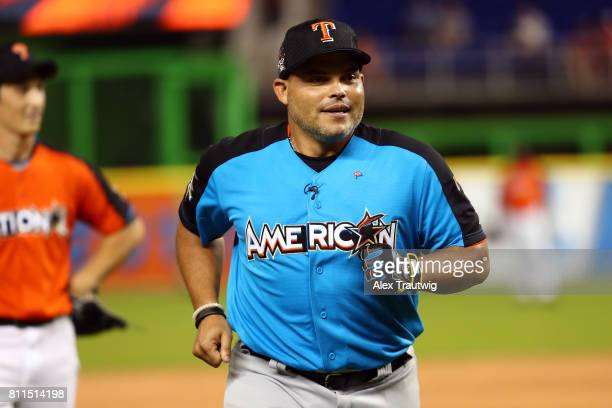 Ivan Rodriguez rounds the bases during the AllStar and Legends Celebrity Softball Game at Marlins Park on Sunday July 9 2017 in Miami Florida