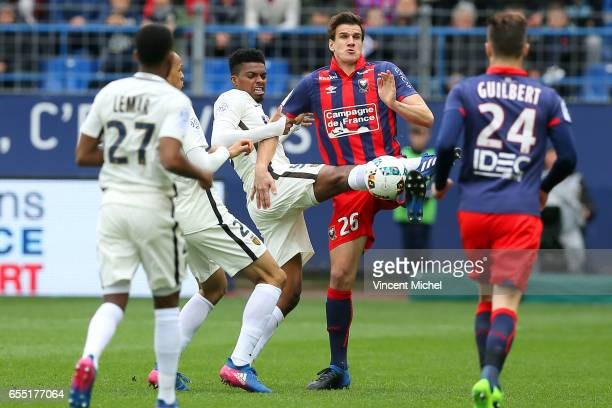 Ivan Santini of Caen and Jemerson of Monaco during the French Ligue 1 match between Caen and Monaco at Stade Michel D'Ornano on March 18 2017 in Caen...