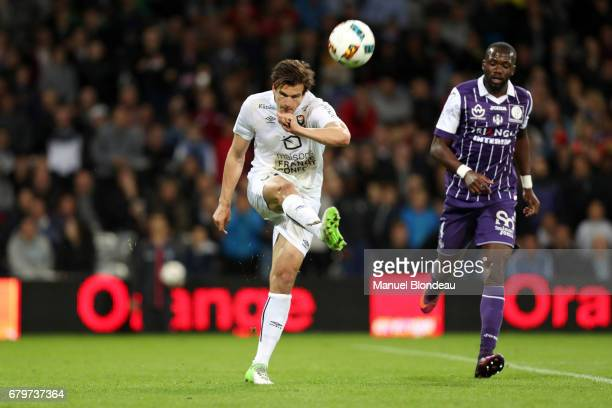 Ivan Santini of Caen during the Ligue 1 match between Toulouse FC and SM Caen at Stadium Municipal on May 6 2017 in Toulouse France
